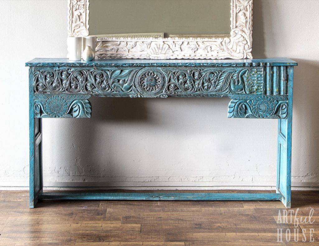 Turquoise blue console ivory mirror 2