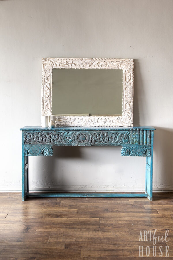 Turquoise blue console ivory mirror
