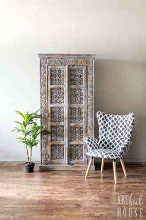 Grey Doorway cupboard and IKat Chair