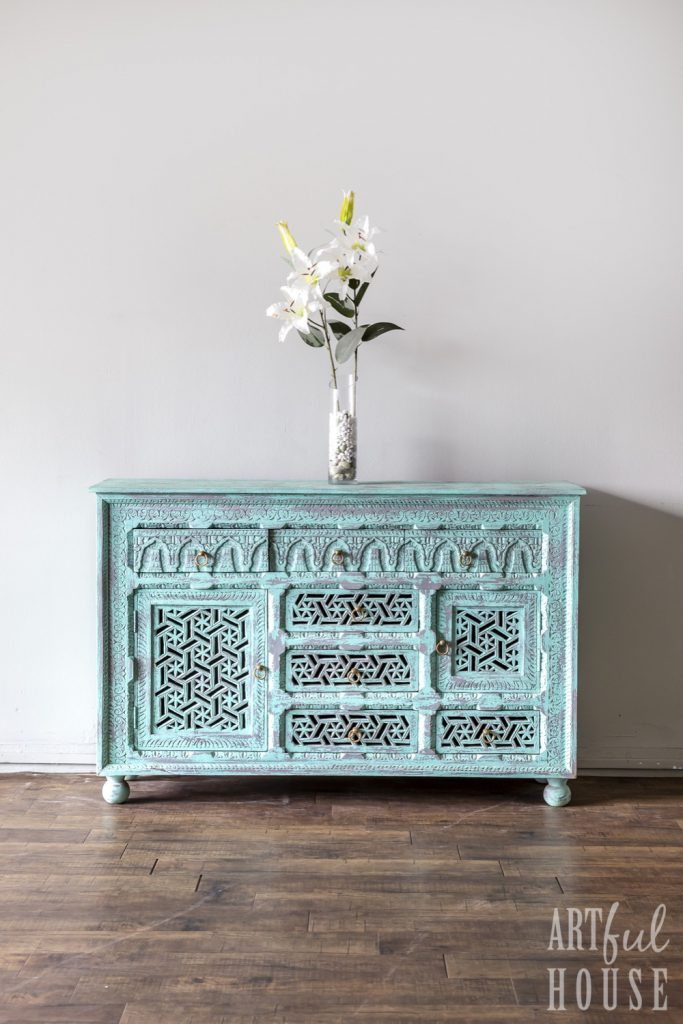 Aqua carved sideboard