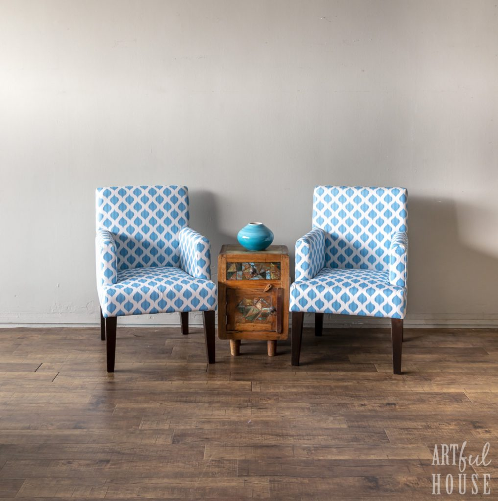 Blue and white ikat print chairs