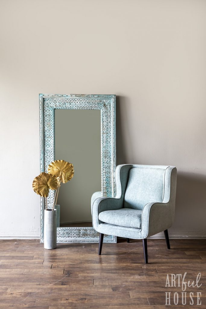 Blue recycled wood mirror and sky blue arm chair