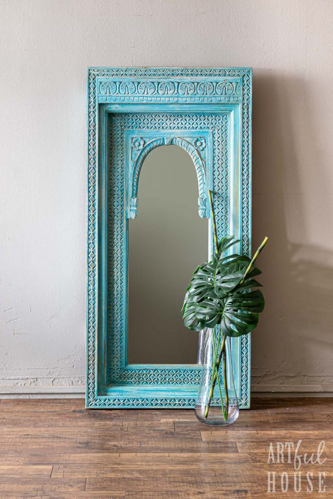 Blue window arch mirror